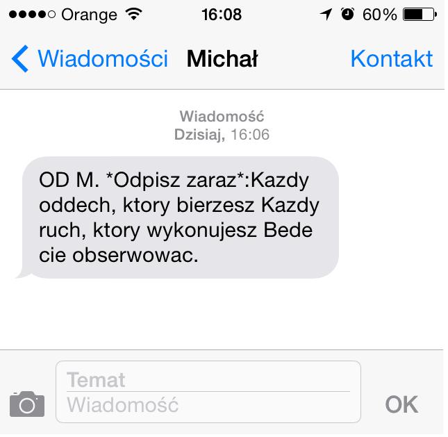 stalking uproczywe nękanie sms od stalkera